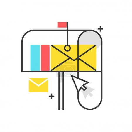 Color box icon, mail box illustration, icon