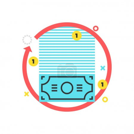 Color box icon, money flow illustration, icon