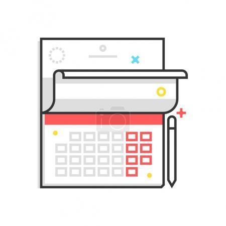 Color box icon, calender illustration, ico