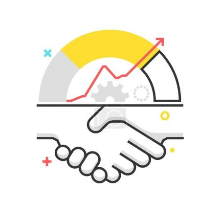 Color box icon, hand shake illustration, icon