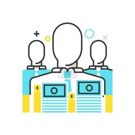 Color box icon, employee salary illustration, icon