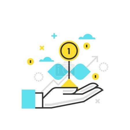 Color box icon, growth illustration, icon