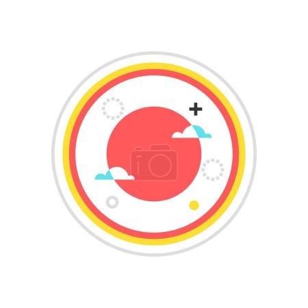 Color box icon, sun illustration, icon