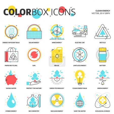 Color box icons, clean energy backgrounds and graphics