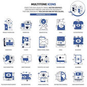 Multi tone icons advertisement backgrounds and graphics The illustration is colorful flat vector pixel perfect suitable for web and print Linear stokes and fills