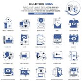 Multi tone icons advertisement backgrounds and graphics