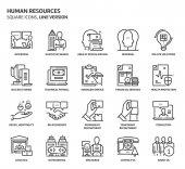 Human resources square icon set