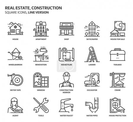 Real estate and construction, square icon set