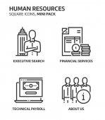 Human resources square mini icon set