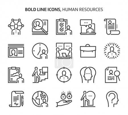 Illustration pour Ressources humaines, icônes en gras. Les illustrations sont un vecteur, course modifiable, 48x48 pixels fichiers parfaits. Fabriqué avec précision et oeil pour la qualité . - image libre de droit