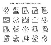 Human resources bold line icons
