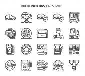 Car service bold line icons