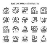 Law and justice bold line icons