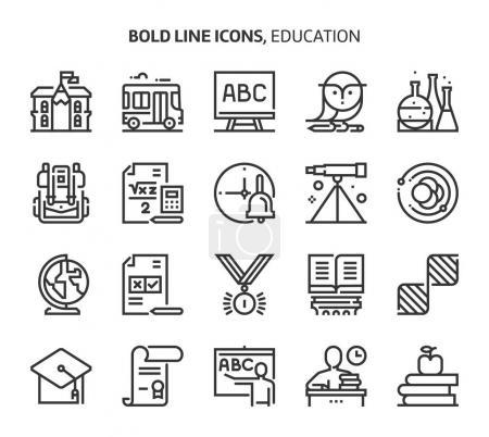 Photo pour Éducation, icônes en gras. Les illustrations sont un vecteur, course modifiable, 48x48 pixels fichiers parfaits. Fabriqué avec précision et oeil pour la qualité . - image libre de droit