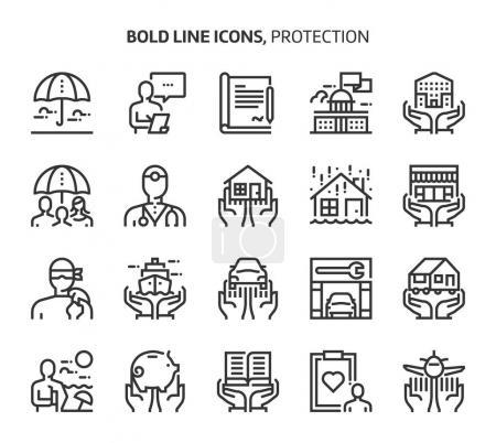 Illustration pour Protection, icônes en gras. Les illustrations sont un vecteur, course modifiable, 48x48 pixels fichiers parfaits. Fabriqué avec précision et oeil pour la qualité . - image libre de droit