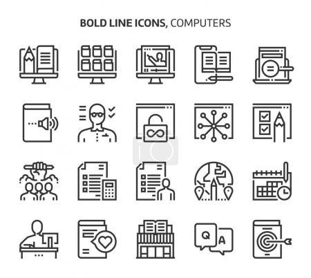 Illustration pour Ordinateurs et mise en réseau, icônes de ligne en gras., course modifiable, fichiers parfaits de 48x48 pixels. Fabriqué avec précision et oeil pour la qualité . - image libre de droit
