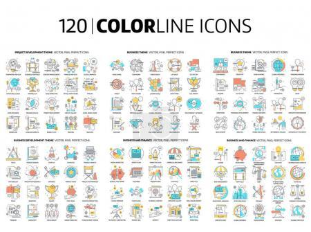 Illustration for 120 Color line icons, illustrations, icons, backgrounds and graphics. The illustration is colorful, flat, vector, pixel perfect, suitable for web and print. It is linear stokes and fills. - Royalty Free Image
