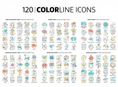 120 Color line icons