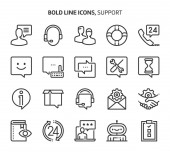 Support bold line icons