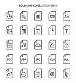 File types bold line icons