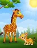 Giraffe and lion cub cartoon in the jungle