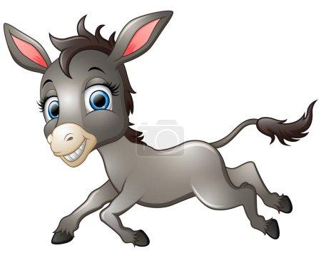 Illustration pour Illustration de joyeux âne dessin animé en cours d'exécution - image libre de droit