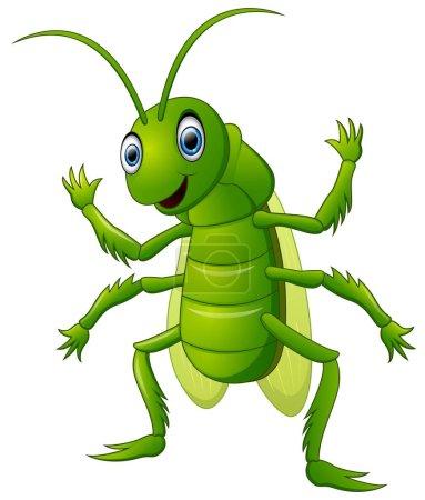 Illustration pour Illustration de Happy grasshopper dessin animé agitant la main - image libre de droit