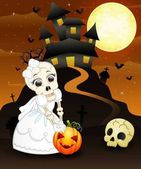 Halloween background with female skull bride holding pumpkin and skull head
