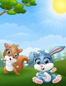 Baby squirrel and baby rabbit cartoon in the jungle