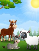 Farm animals cartoon in the jungle