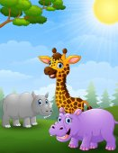 Animal african cartoon in the jungle