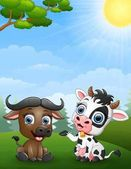 Baby buffalo and baby cow cartoon in the jungle