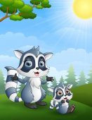 Raccoon family. Mother and her child cartoon in the jungle