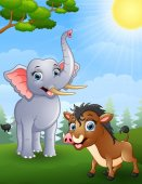 Elephant and wild boar cartoon in the jungle