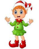 Christmas girl elf character waving hands