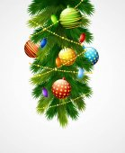 Christmas decoration with balls, baubles and fir branches