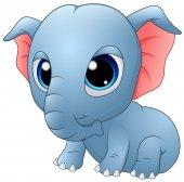 Cute baby elephant sitting