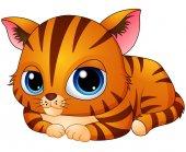 Cute kitten cartoon laying down
