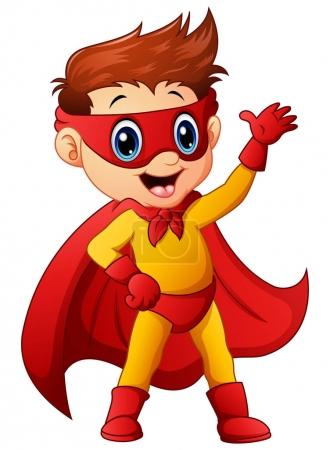 Illustration for Vector illustration of Superhero boy waving hand - Royalty Free Image