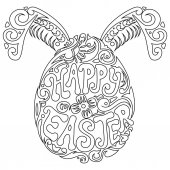 Hand drawn easter egg and bunny ears for adult coloring page in doodle