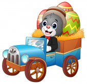 Easter Bunny driving a car carrying easter eggs