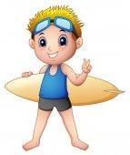 Cartoon boy with a surfboard