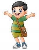 Happy schoolboy cartoon