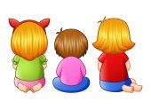 Back view of little three girl sitting together