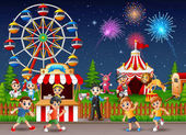 Happy children and people worker at amusement park