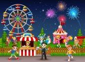 Children having fun at amusement park