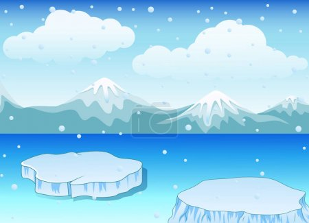 Vector illustration of Winter landscape with snow ...