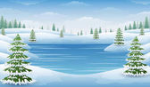 Winter landscape with frozen lake and fir trees