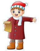 Cartoon boy singing christmas carols