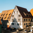 View of a beautiful street with traditional German...